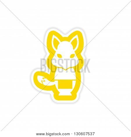 stylish paper sticker on white background fox masseur