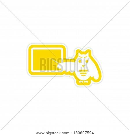 stylish paper sticker on white background owl teacher