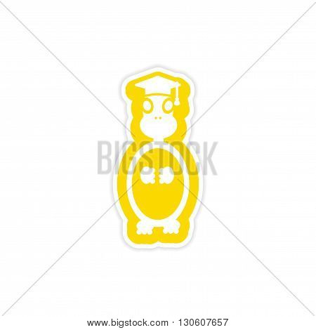 stylish paper sticker on white background turtle scientist