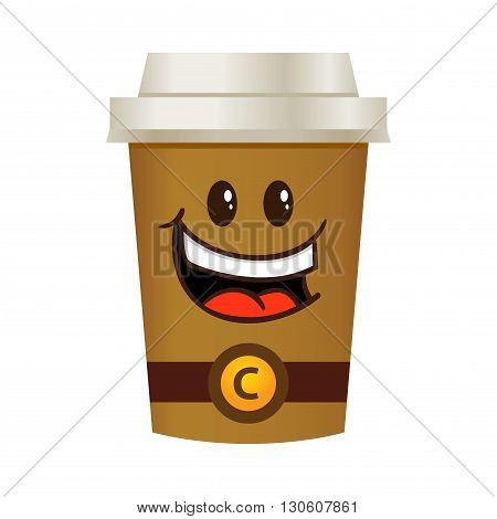 Vector stock of happy coffee cup tall cartoon character
