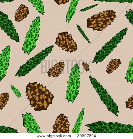 forest card with fir branches and pine cones. seamless pattern