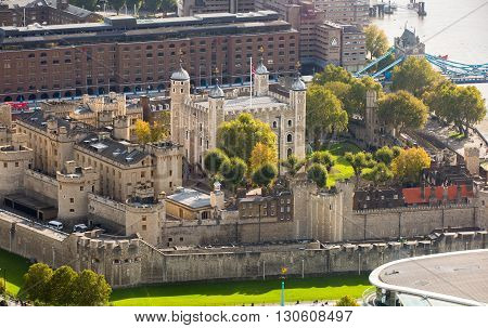 LONDON, UK - OCTOBER 14, 2015 - Tower of London view. Panorama from the 32 floor