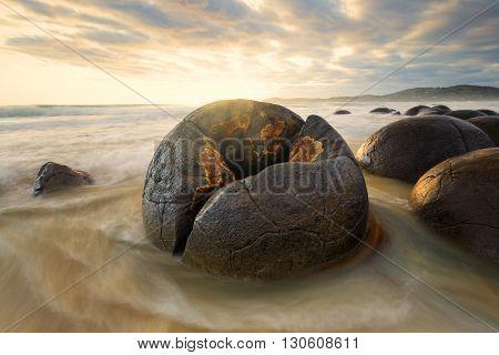A cracked Moeraki boulder of south island.