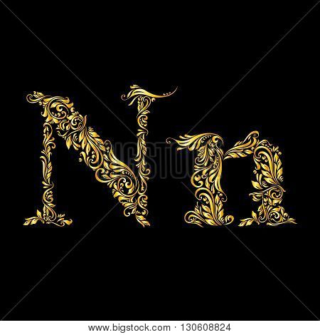 Richly decorated letter 'n' in upper and lower case.