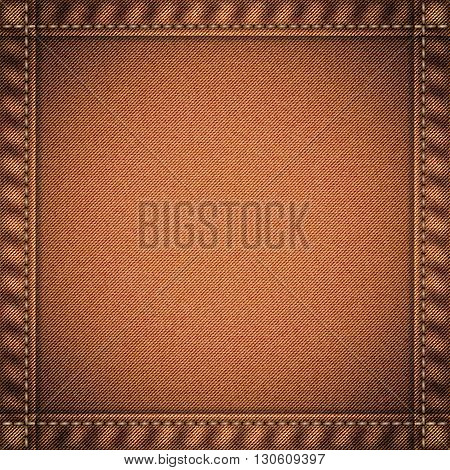 Realistic jeans texture in deep beige colors with frame from seams and thread stitches. Denim pattern background. Vector illustration