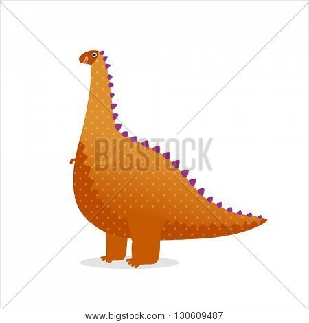 Vector illustration of a toy orange dotted dinosaur.