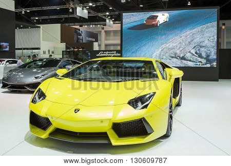 Bangkok - March 22 : yellow Lamborghini luxury sport car - in display at The 37th Bangkok international Motor Show 2016 on March 22 2016 in Bangkok Thailand