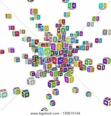 Toy cube blocks abstract isolated 3d illustration square