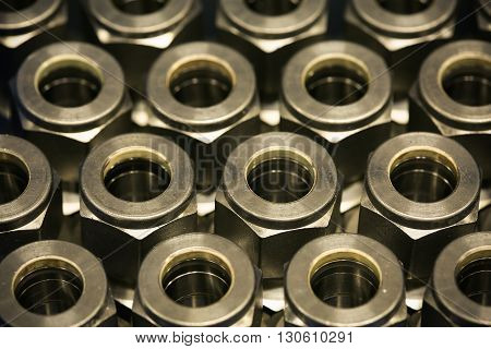 Old bolts or dirty bolts on wooden background, Machine equipment in industry work. industry equipment and tools for work.