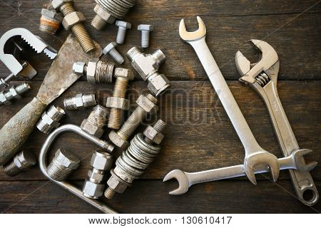 Hand tools set or Work tools set background, Tools in industry job for general work or hard work.