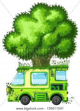 Tree vehicle ecology cartoon design element, isolated vector