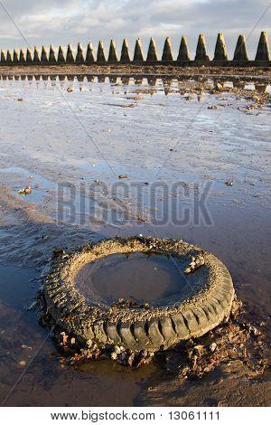 Discarded Tyre On Beach