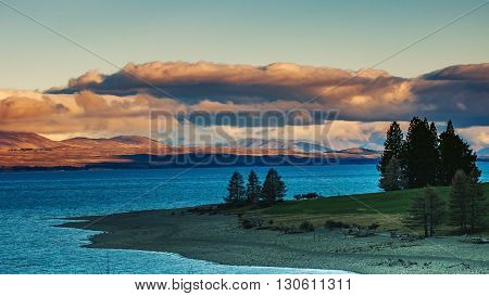 beautiful scenic of lake pukaki aoraki-mt.cook national park south island new zealand important traveling destination