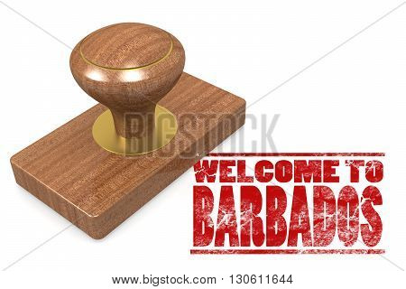 Red rubber stamp with welcome to Barbados image, 3D rendering