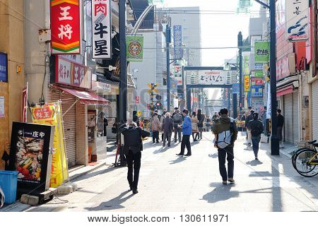 TOKYO, JAPAN -MARCH 29 2016 : togoshi ginza street in the morning, is one of the popular shopping street located in Togoshi, Shinagawa. There are over 400s of shops, restaurants, food stands, stores groceries.