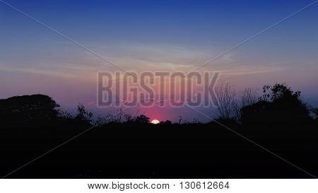 Sun Rise with the beauty blue sky