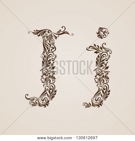 Handsomely decorated letter j in upper and lower case.