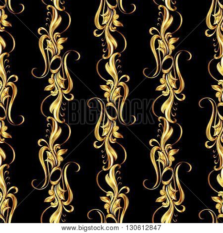 Seamless wallpaper with golden pattern. five vertical lines in the form of vines