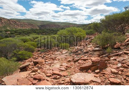 Rocky sandstone and lush greenery covering the Kalbarri National Park landscape under a blue sky with clouds in Western Australia.