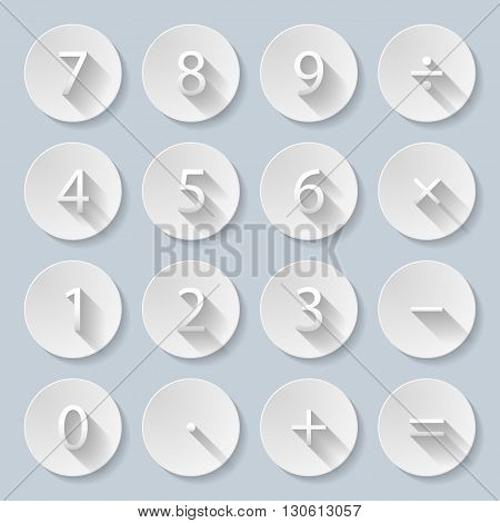 Set of numbers and mathematical signs in paper style