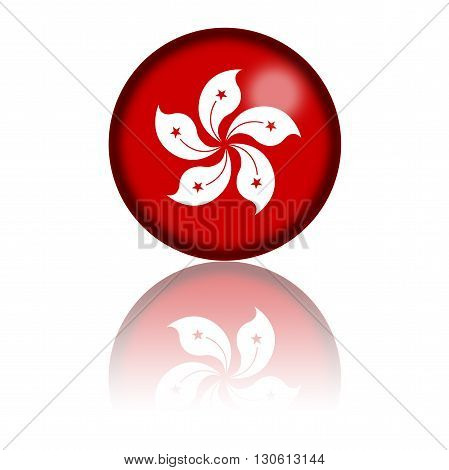 Hong Kong Flag Sphere 3D Rendering
