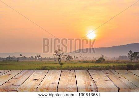 wood table on the rice field background.