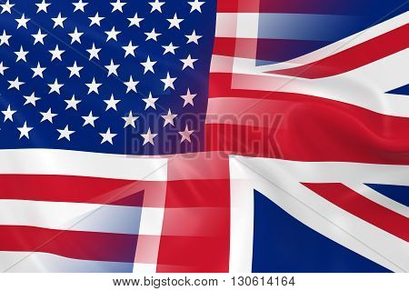 US and UK Relations Concept Image - Flags of the United States of America and United Kingdom Fading Together - 3D Illustration