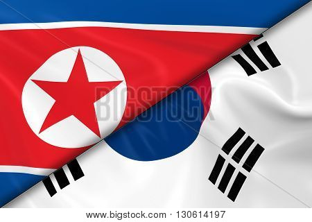 Flags of North Korea and South Korea Divided Diagonally - 3D Render of the North Korean Flag and South Korean Flag with Silky Texture - 3D Illustration