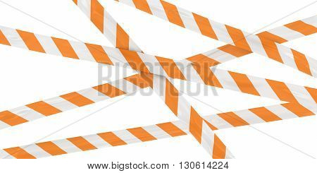 Orange and White Striped Barrier Tape Background - 3D Illustration