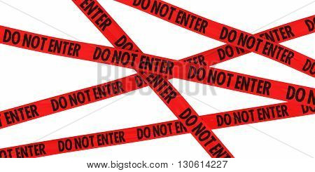 Red DO NOT ENTER Barrier Tape Background Isolated on White - 3D Illustration