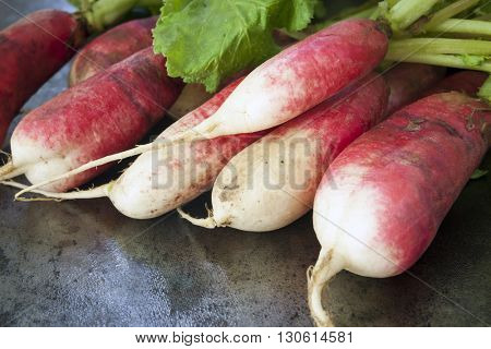 Bunch of radishes over dark slate.