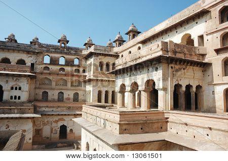 Yard Of The Raj Mahal Palace At Orcha ,India