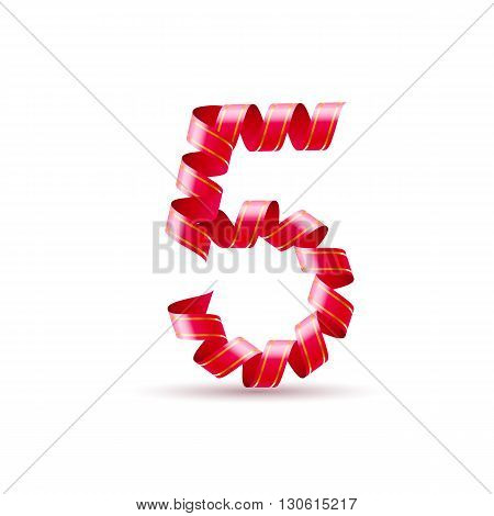 Number five made of red curled shiny ribbon