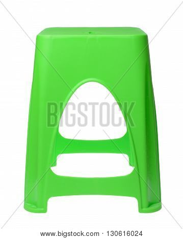 The dirty green plastic chair isolated on white