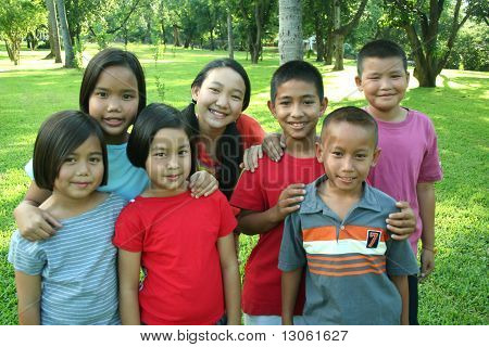 Asian children in the park.