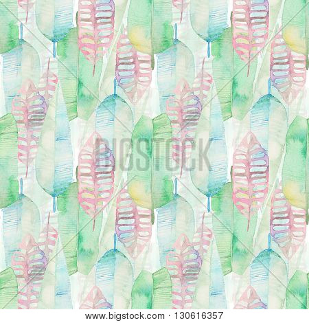 Watercolor tropical palm leaves seamless pattern. Green and pink palm leaf