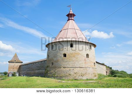 An ancient tower of the fortress Oreshek sunny day in july. Leningrad region, Russia