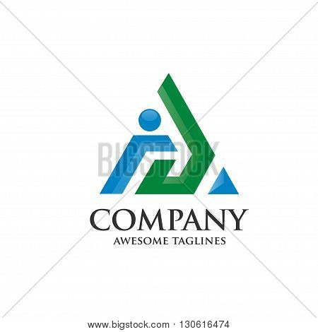 letter A logo with arrow 3d style logo vector