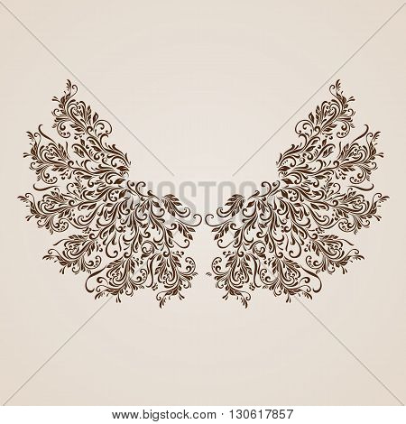 Floral pattern of vines in the shape of a wings on a beige background