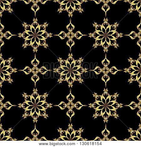 Seamless gold flower pattern on black background