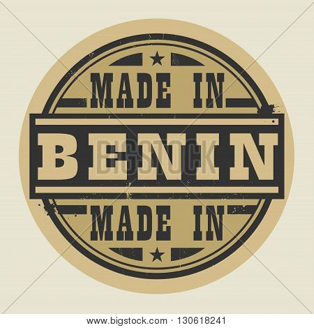 Abstract stamp or label with text Made in Benin, vector illustration