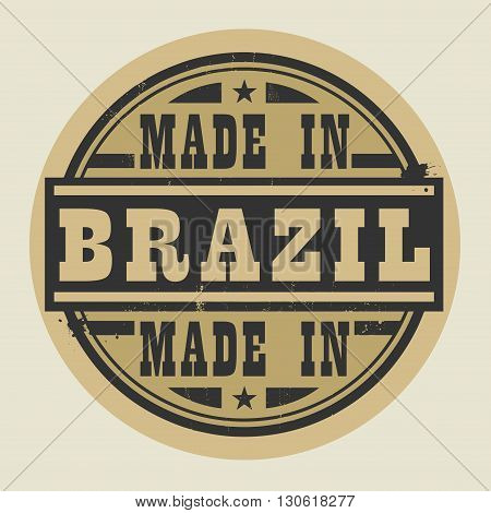 Abstract stamp or label with text Made in Brazil, vector illustration