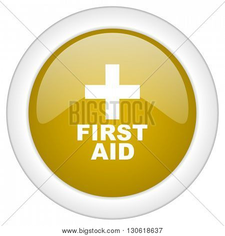 first aid icon, golden round glossy button, web and mobile app design illustration