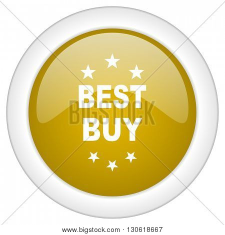 best buy icon, golden round glossy button, web and mobile app design illustration