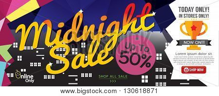 Midnight Sale 1500x600 pixel Vector Illustration. EPS 10