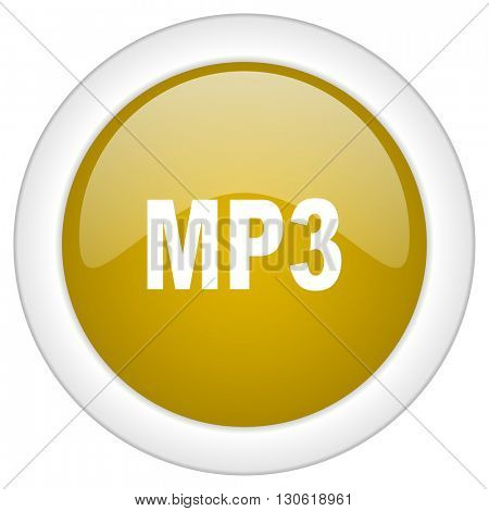 mp3 icon, golden round glossy button, web and mobile app design illustration