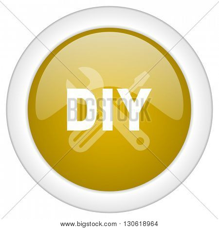diy icon, golden round glossy button, web and mobile app design illustration