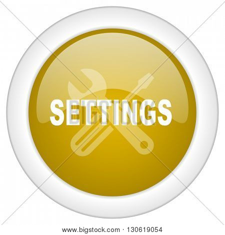 settings icon, golden round glossy button, web and mobile app design illustration