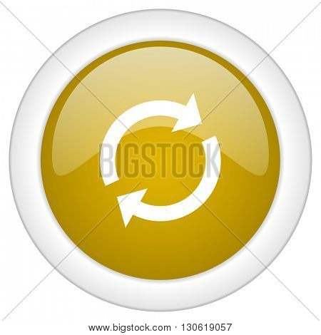 reload icon, golden round glossy button, web and mobile app design illustration