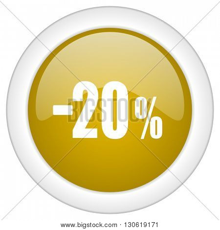 20 percent sale retail icon, golden round glossy button, web and mobile app design illustration